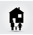Concept image of a family under an abstract house vector image