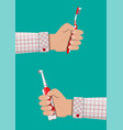 electric and manual toothbrush in hand vector image