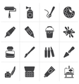 Black Painting and art object icons vector image