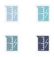 Set of paper stickers on white background beaker vector image