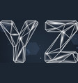 Constellation Geometric Font Y-Z vector image