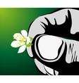 hand with flower vector image