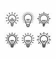 lit light bulb icons set vector image