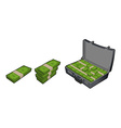 Suitcase with money Case with cash Stack of vector image
