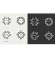 Elegant art line monogram logo design vector image