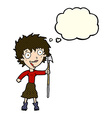 cartoon crazy woman with spear with thought bubble vector image