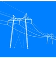 Silhouette of high voltage power lines vector image