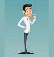 sommelier cartoon gentleman savor drink glass vector image