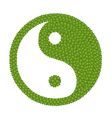 The Ying Yang Sign Made of Four Leaf Clover vector image