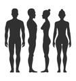 Man and woman silhouettes in front side vector image vector image