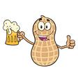 Happy Peanut Cartoon with Beer vector image vector image