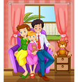 A smiling family inside the house vector image