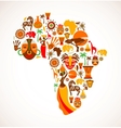 Map of Africa with icons vector image