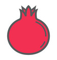 pomegranate line icon fruit and garnet vector image