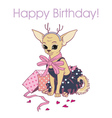 girl dog Happy Birthday vector image