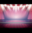 open red curtains with seats and neon spotlights vector image
