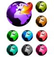 3d glossy earth icons vector image vector image