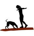 Woman and dog on log vector image