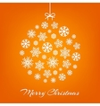 Hanging christmas ball from white snowflakes on vector image