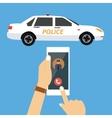 call police car via mobile phone emergency vector image