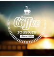 Coffee label design over blurred background vector image