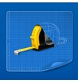 Tape measure drawing blueprint vector image vector image