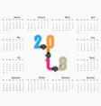 2018 calendar templatecalendar for 2018 year vector image