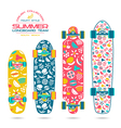 Fruit print on a longboard and skateboard vector image
