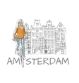 Woman and Amsterdam Sketch vector image