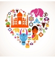 Heart with India icons vector image