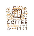 abstract hand drawn coffee logo design vector image