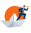 Businessman with a telescope on a paper boat vector image