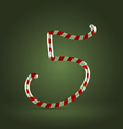 Candy cane abc 5 vector image