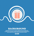 Gift box sign icon Present symbol Blue and white vector image