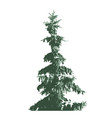 green fur-tree silhouette isolated on white vector image