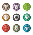 group of lion face in the circle vector image