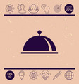 restaurant steel serving tray cloche symbol vector image
