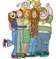 school teens group giving hug vector image
