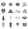 Japan icons set gray monochrome style vector image
