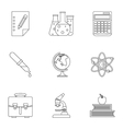 Study icons set outline style vector image