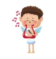 cute little cupid valentine day music harp vector image