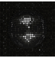 Black disco ball on black mosaic background vector image
