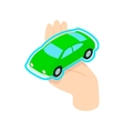 Hand holding the car icon isometric 3d style vector image vector image