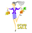 doodle shopping girl character vector image
