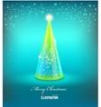 Merry Christmas Card with Glass Christmas tree vector image