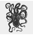 Black danger cartoon octopus characters with vector image
