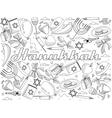 Hanukkah line art design vector image
