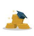 Isolated cartoon gold coin and expensive education vector image