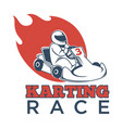 karting race logotype with driver in helmet and vector image