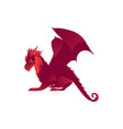 mythical mythological red flying dragon character vector image